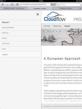 CloudFlow Tablett Navigationpanel