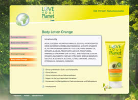 Love your Planet Body Lotion Orange (Popup Inhaltsstoffe)